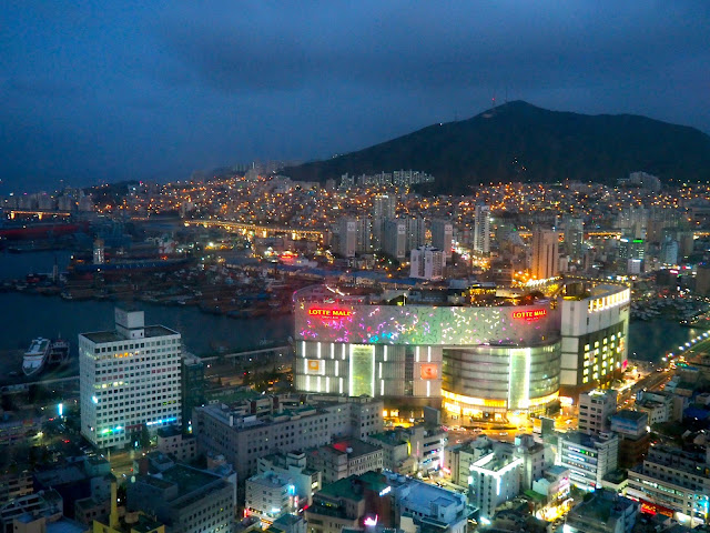View from Busan Tower at night, including Lotte Mall, over Nampo-dong, Busan, South Korea