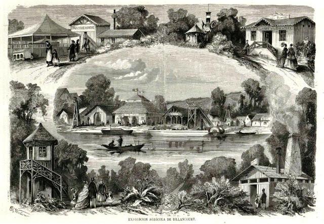 Ilustración con distintos motivos del jardín de horticultura habilitado en la isla de Billancourt