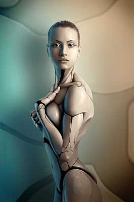 Retoque digital de una mujer robot o ginoide