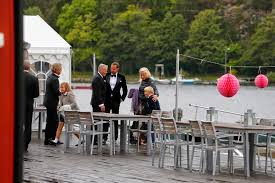 Crown Prince Haakon and Crown Princess Mette Marit at wedding of Per Hoiby