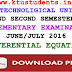Question Paper for Differential Equations(MA102)-Supplementary Examination June/July 2016