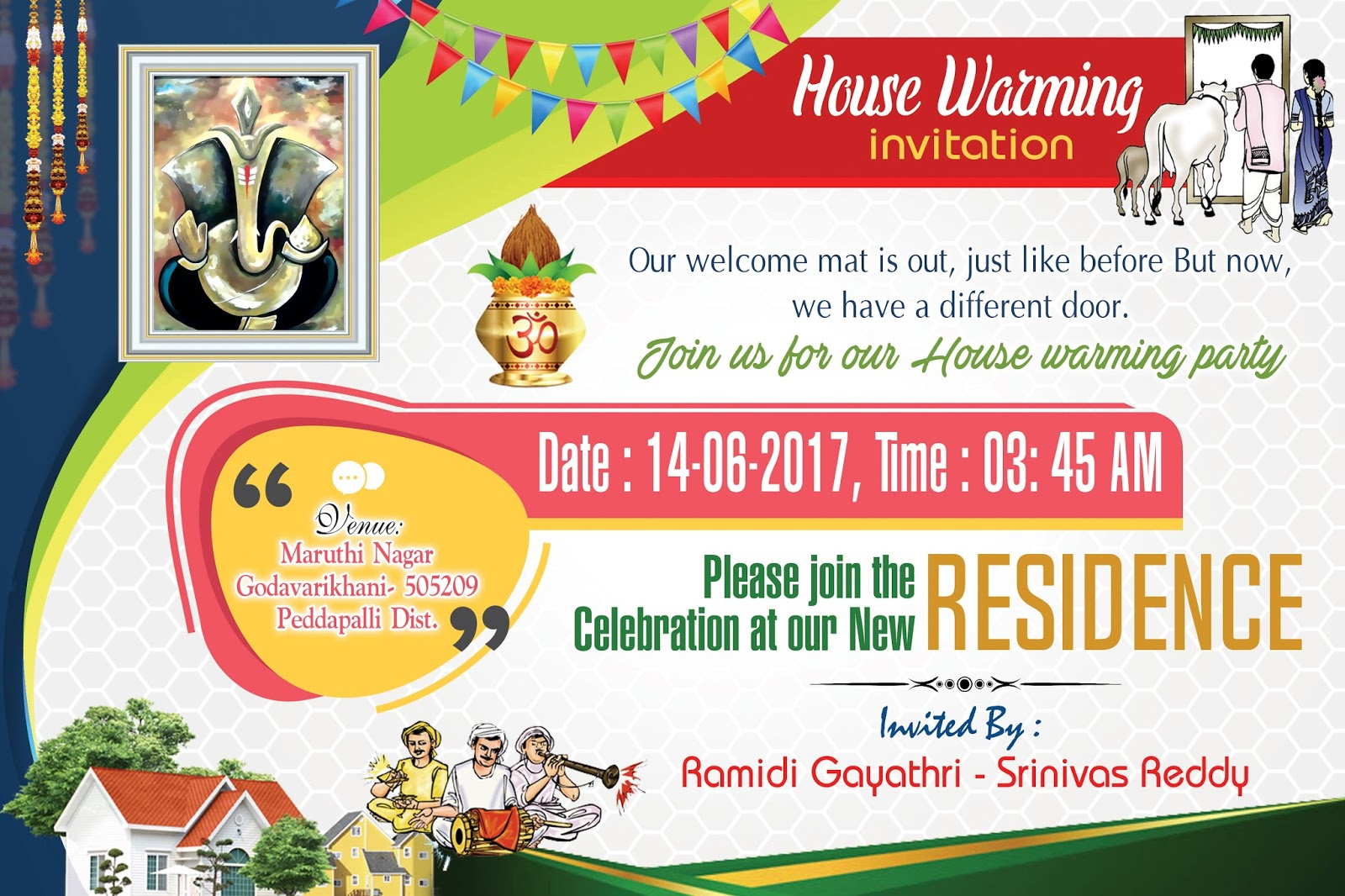 housewarming invitation card psd