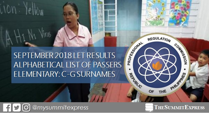 C-G Passers Elementary: LET Results September 2018