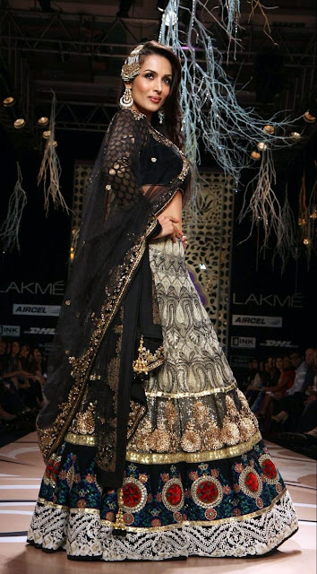 Malaika Arora Black and Gold Net and Banarasi Silk Designer Bollywood Lehenga