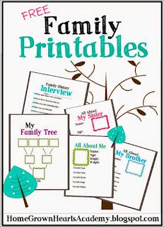 Árbol genealógico sencillo imprimible, fichas sobre la familia, guía para entrevistar a la familia...