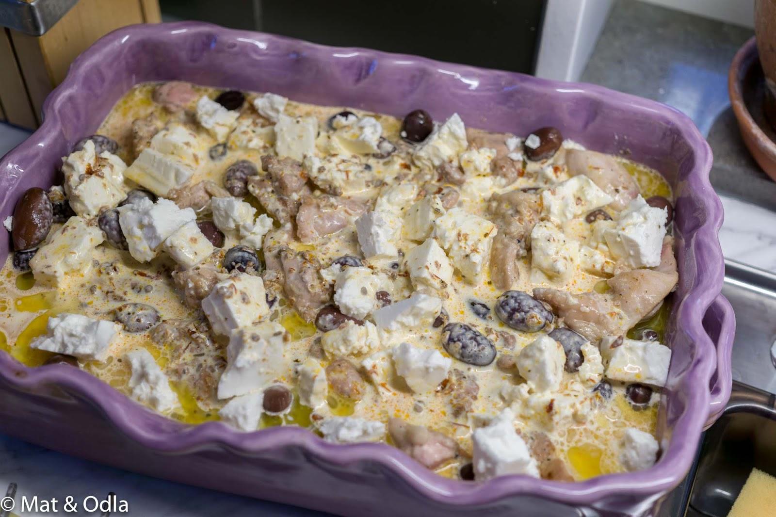 kyckling fetaost oliver grädde