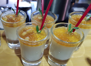 Shot glasses of thick creamy liquid banana flavoured cream was counterpointed by sago in gula melaka.