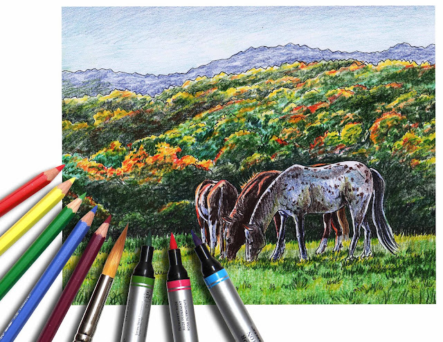 Grazing Horses at Fort Valley Ranch Watercolor Pencils by Irina Sztukowski