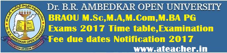 BRAOU M.Sc,M.A,M.Com,M.BA PG Exams 2017 Time table,Examination Fee due dates Notification 2017