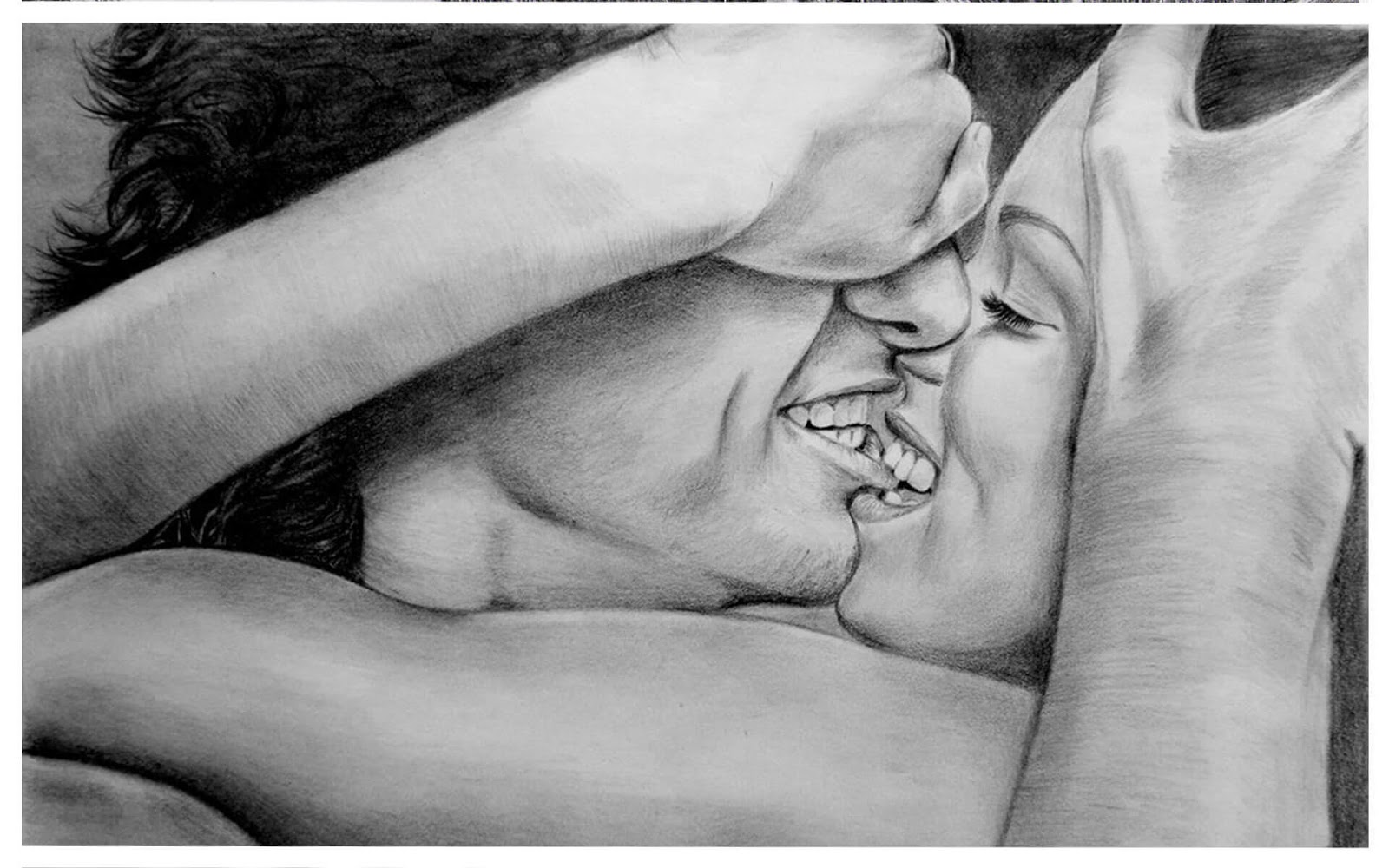 20 Mind-Blowing Pencil Drawings By Greek Artist That Illustrate The Beauty Of Love - I fall in love with your smile all the time