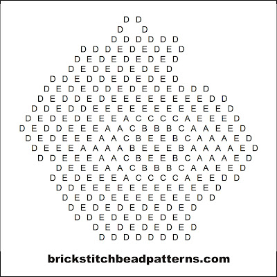 Click for a larger image of the Creepy Monster Eye Halloween bead pattern word chart.