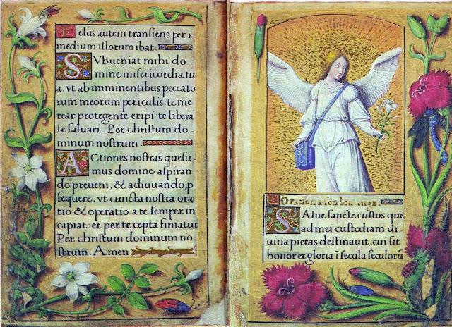 Salve sancte custos. Pequeno livro de orações de Renée de France ornado com flores.