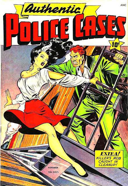 Authentic Police Cases v1 # st john crime comic book cover art by Matt Baker