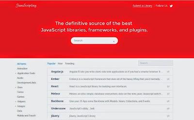 موقع رائع يحتوي على مكتبة هائلة من إطارات عمل الجافاسكربت