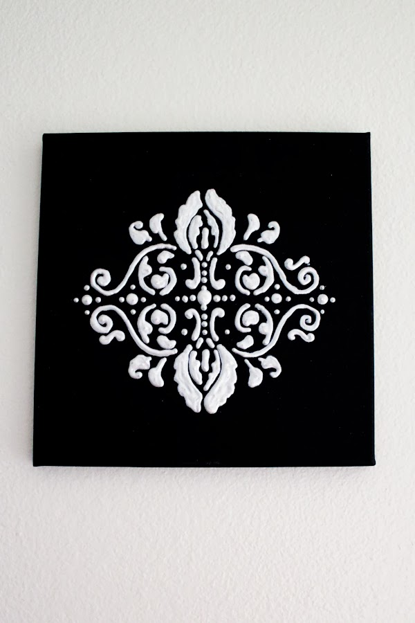 I am building an eclectic black u0026 white wall for in our home office! & DIY: Damask Wall Art REMIX! - Our Mini Family