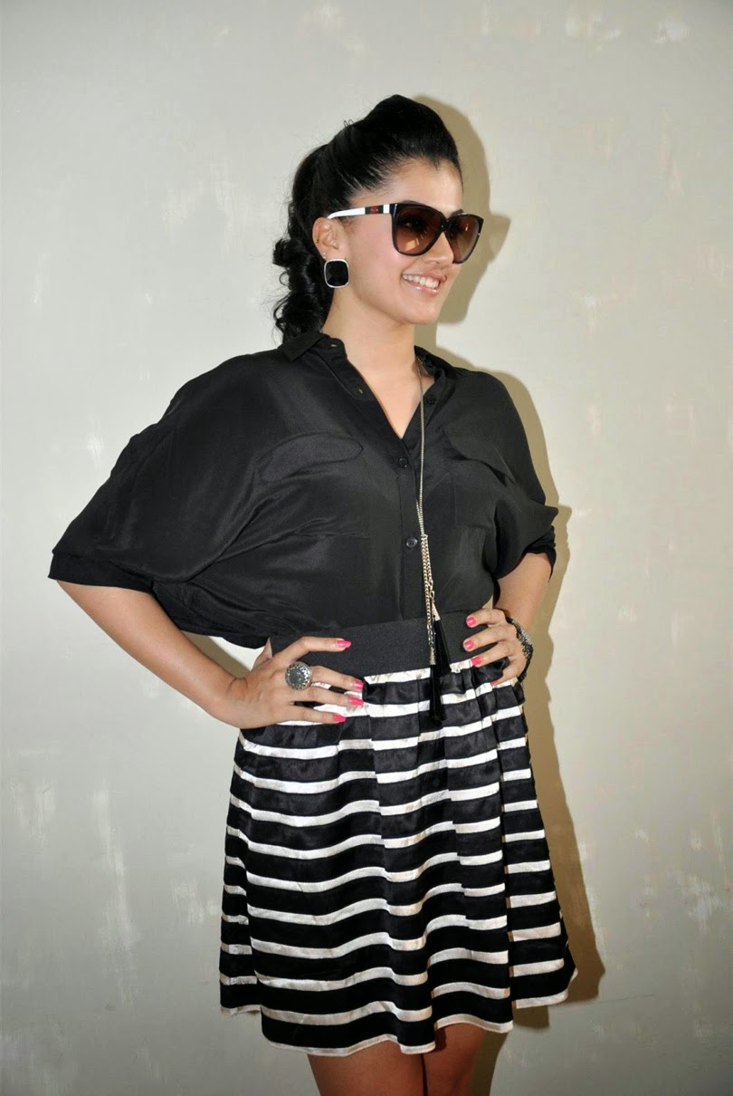 Taapsee Hot Legs Show Photos In Black Dress