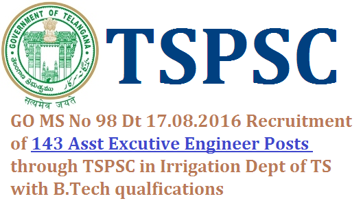 GO MS No 98 Direct Recruitment of 143 Asst Excutive Engineer AEE Posts through TSPSC in TS