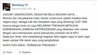 Facebook Bambang Tri Penulis Buku Jokowi UnderCover
