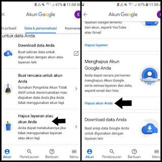 Cara delet google akun di android