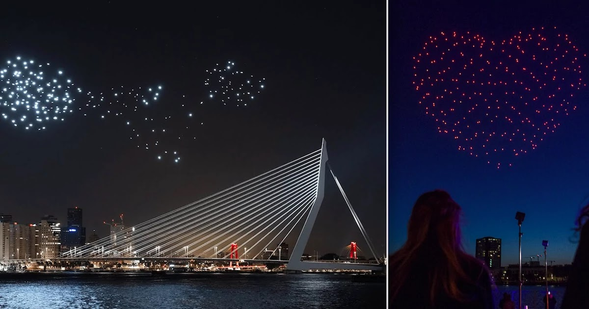 300 Drones Fly Over Rotterdam River Maas In Tribute To Health And Freedom