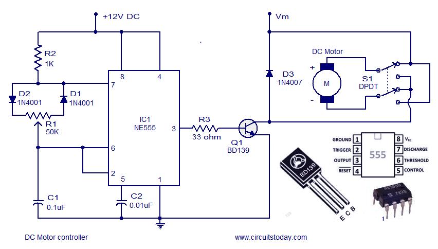 Simple DC Motor Controller Circuit