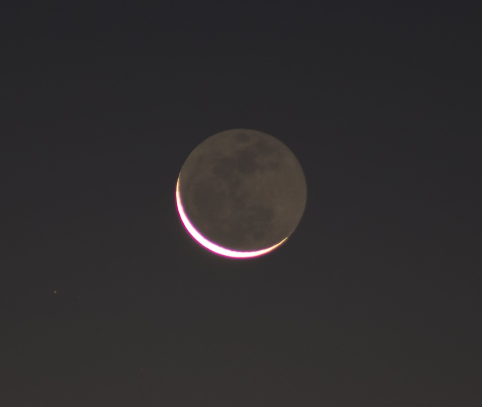 3% crescent moon with earthshine
