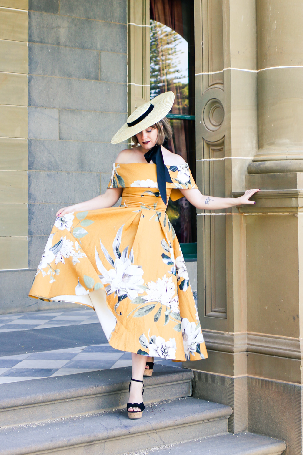 @findingfemme at So Frenchy So Chic wearing yellow floral ASOS dress and straw boater