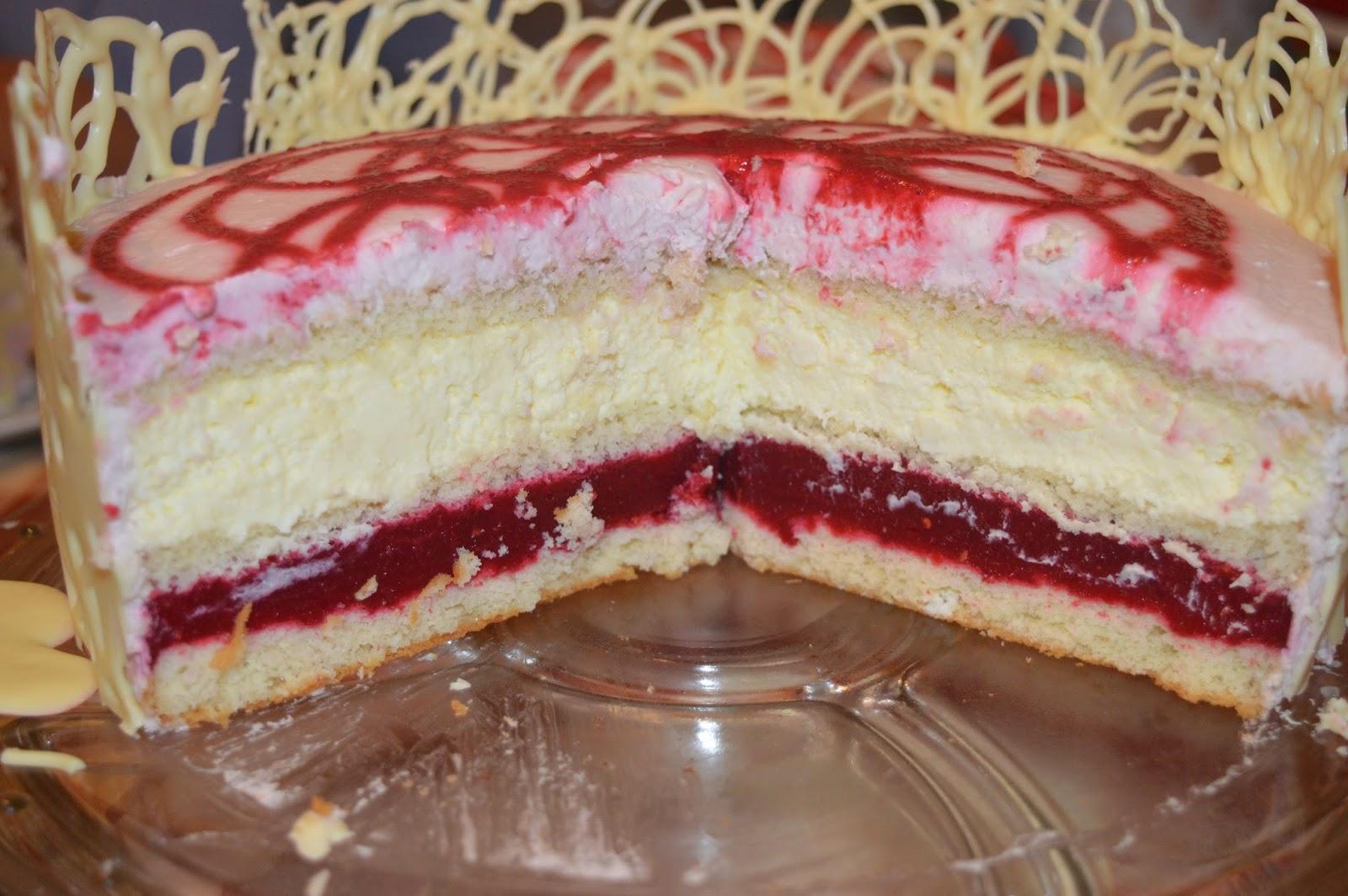 buttercake himbeer weisse schokoladen torte