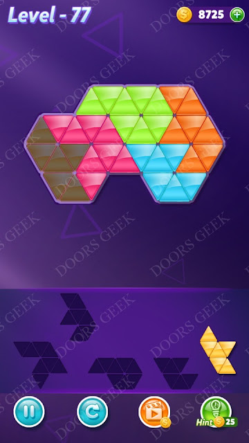 Block! Triangle Puzzle 5 Mania Level 77 Solution, Cheats, Walkthrough for Android, iPhone, iPad and iPod