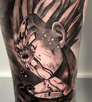 tatuaje vegeta blanco y negro anime