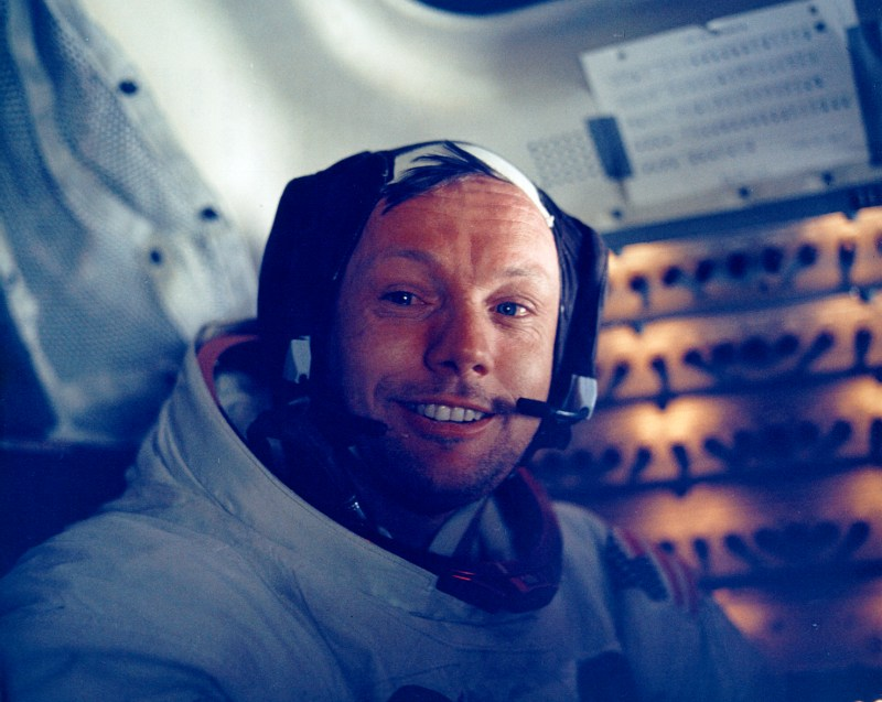Neil Armstrong inside the Apollo 11 Lunar Module