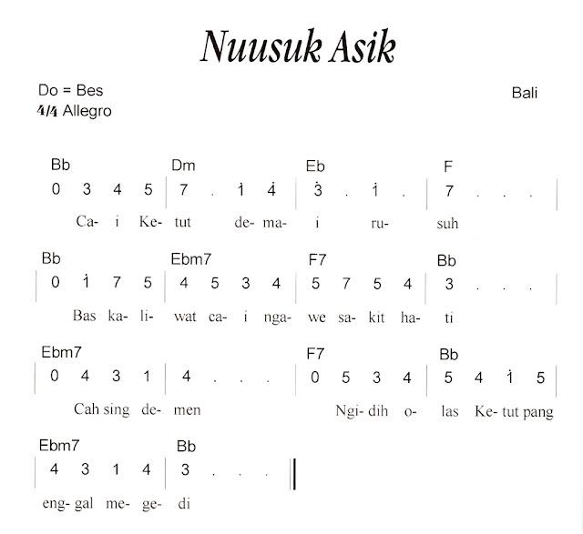 Not Angka Pianika Lagu Ngusak Asik (Bali)
