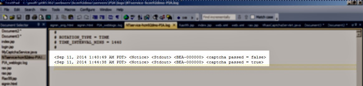 peoplesoft captcha weblogic message login labs rao brothers jsp confirmed logs wrote shown below code system