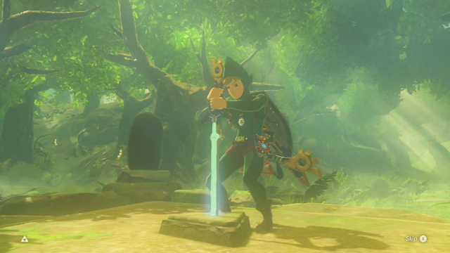 The Legend of Zelda Breath of the Wild Tingle costume outfit DLC Master Sword trial pedestal cutscene