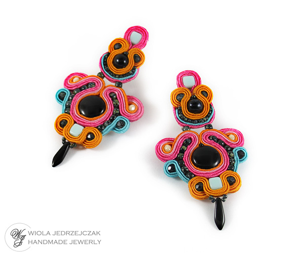 colurful soutache, wiolaj, handmade jewelry, soutache earrings, dangle earrings, for summer