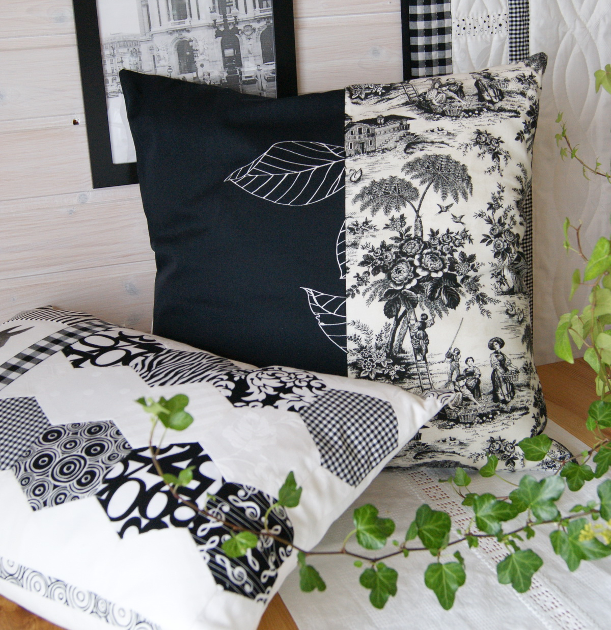 meine quilts und ich kissen in schwarz wei. Black Bedroom Furniture Sets. Home Design Ideas