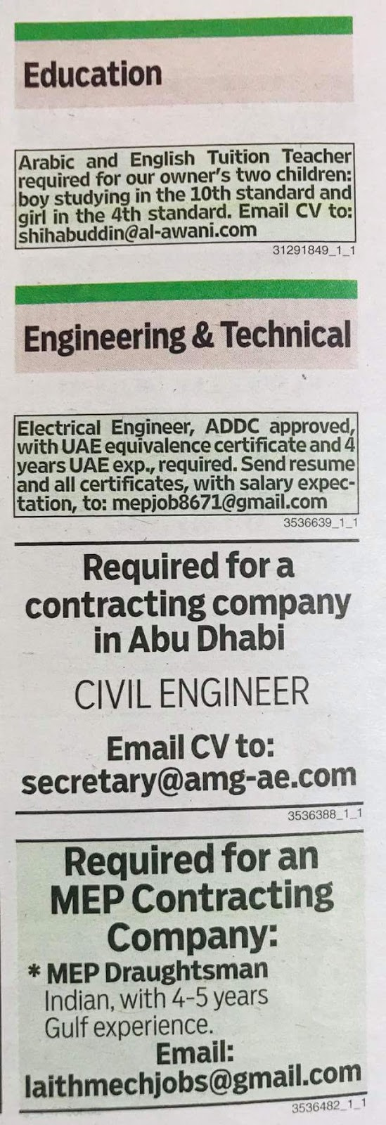 Required VARIOUS POSITION for UAE JOBS LOCAL HIRING KHALEEJ TIMES