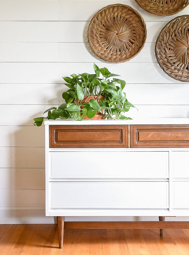 Two-tone painted vintage Bassett dresser makeover