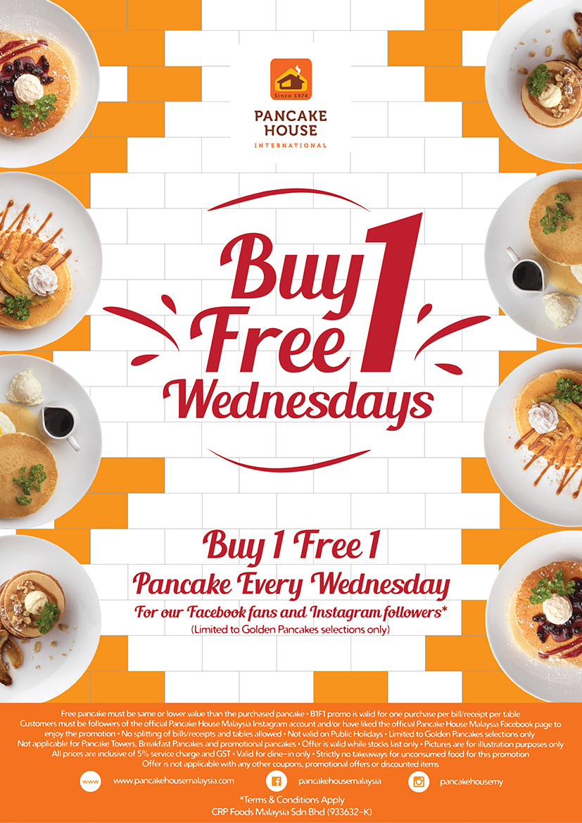 Now You Can Get The Golden Pancakes At BUY 1 FREE 1 Every Wednesday! Simply  Show Their Staff That You Are A Fan Of Their Facebook Page Or Follower Of  Their ...