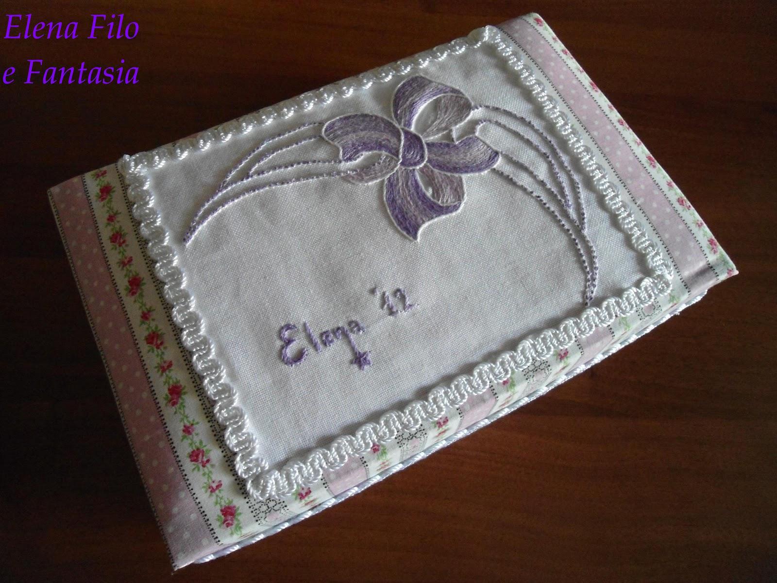 Elena filo e fantasia scatola rivestita con ricamo for Scatole rivestite in stoffa tutorial