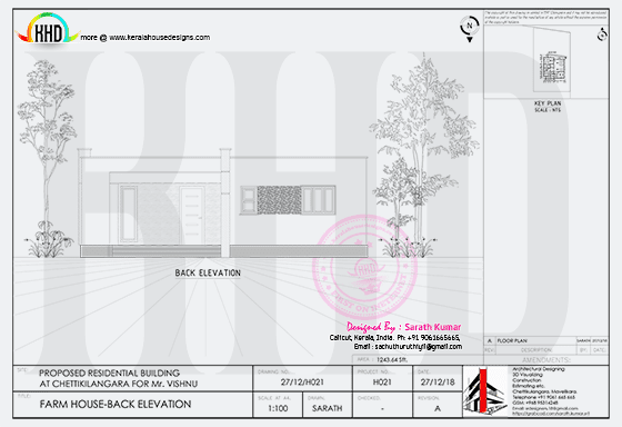 Back elevation drawing