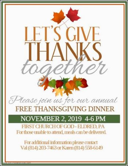 11-2 Free Thanksgiving Dinner at Eldred First Church of God