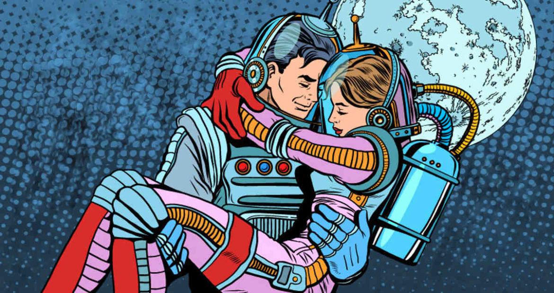 Astronautas apaixonados no espaço