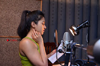 Actress Catherine Tresa Pos during Self Dubbing for Gautham Nanda Movie  0031.JPG