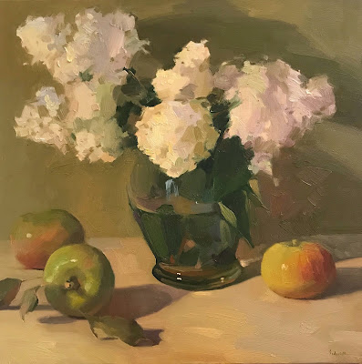 still life floral painting by sarah sedwick white hydrangea art