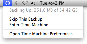 Time Machine Backup Status