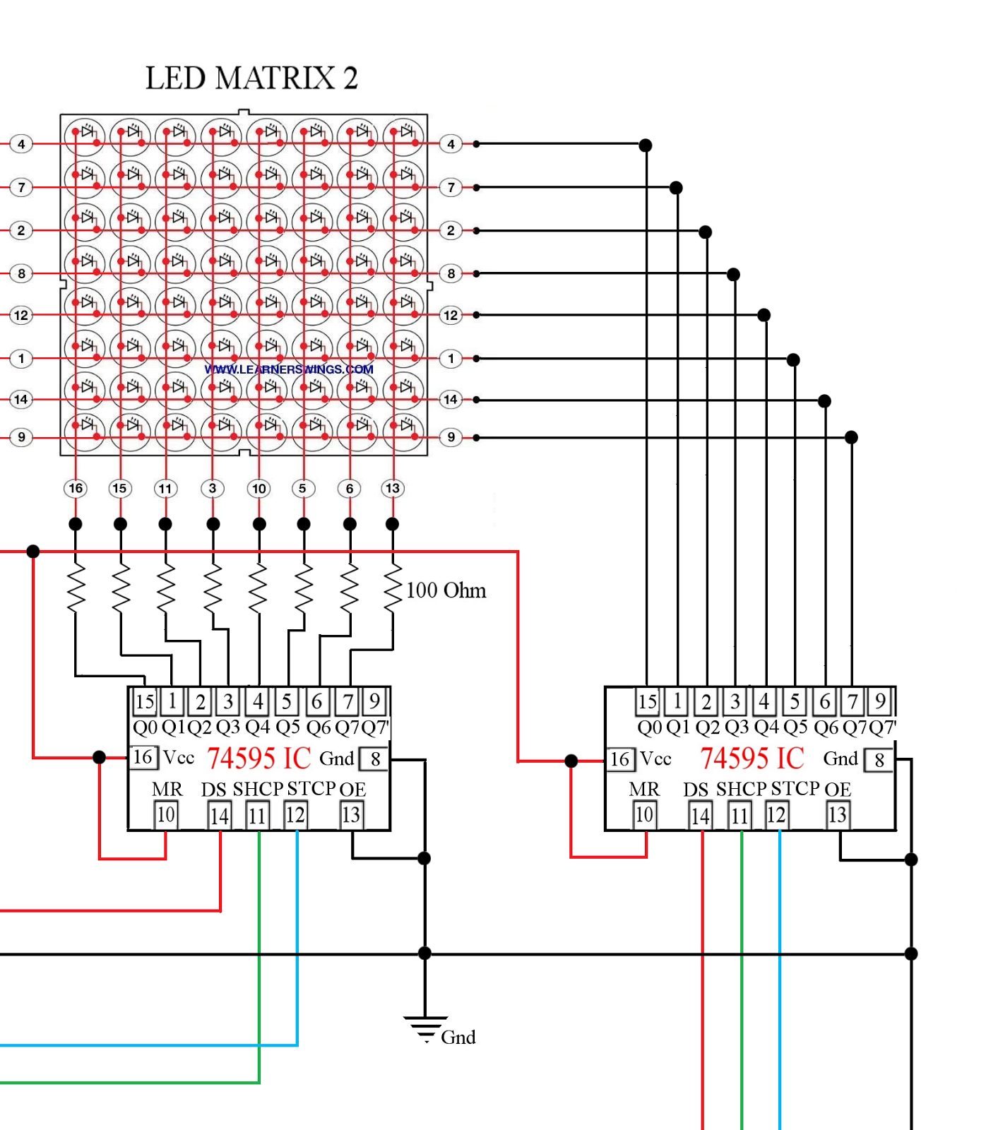 Circuit Between 74595 and Arduino Mega to Control 16*8 LED ...