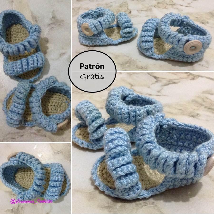 18d370f57 Creaciones Isabelita  Sandalias de Bebé a Crochet. Patrón Gratis