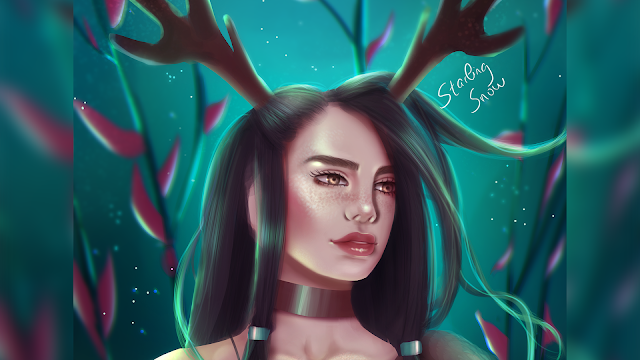 Deer Girl - Digital Painting Art
