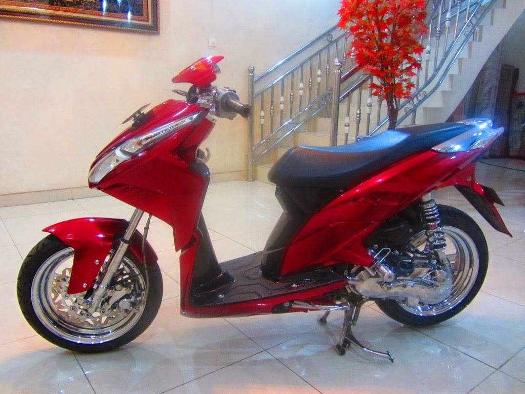 100 Modifikasi Motor Vario Techno 125 Warna Merah Terbaru Kumbara